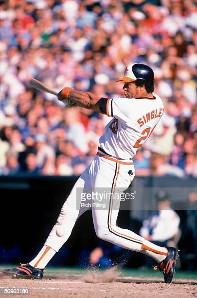 Ken Singleton of the Baltimore Orioles bats during a game circa October 1983 Ken Singleton played for the Orioles from 1975 to 1984