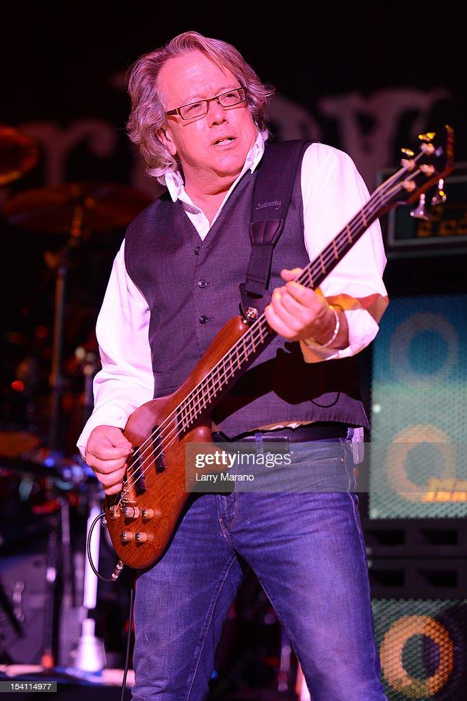 Ken Sinnaeve of Loverboy performs at Cruzan Amphitheatre on October 13, 2012 in West Palm Beach, Florida.