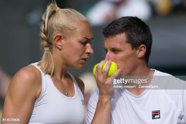 Ken Skupski and Jocelyn Rae during their defeat to top seeds Jamie Murray and Martina Hingis at Wimbledon on July 13 2017 in London England