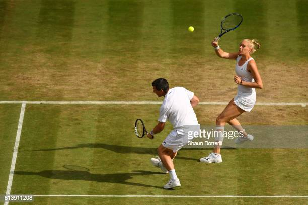 Ken Skupski of Great Britain and Jocelyn Rae of Great Britain of Switzerland in action during the Mixed Doubles quarter final match against Jamie...