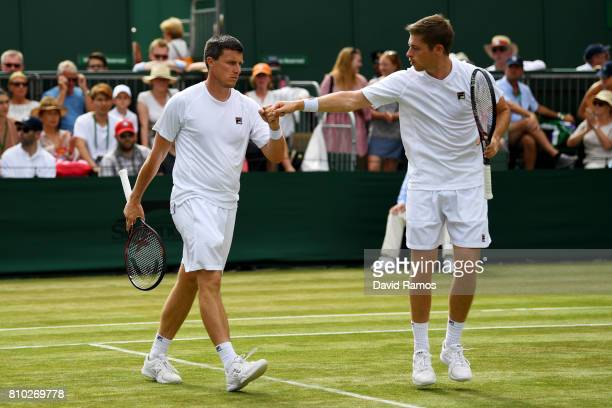 Ken Skupski of Great Britain and Neal Skupski of Great Britain celebrate after the Gentlemen's Doubles second round match against Rohan Bopanna of...