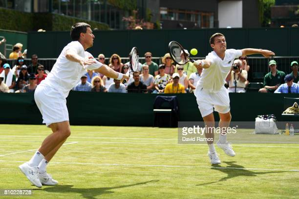 Ken Skupski of Great Britain and Neal Skupski of Great Britain in action during the Gentlemen's Doubles second round match against Rohan Bopanna of...