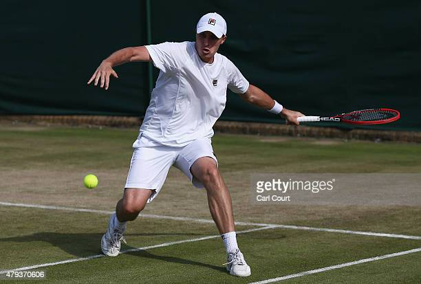 Ken Skupski of Great Britain plays a forehand in his Mixed Doubles First Round match with Johanna Konta of Great Britain against Aisam Qureshi of...