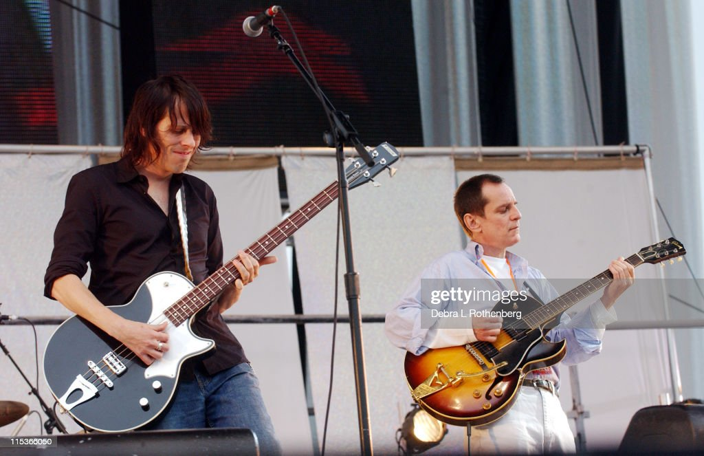 Ken Stringfellow and <a gi-track='captionPersonalityLinkClicked' href=/galleries/search?phrase=Alex+Chilton&family=editorial&specificpeople=1674278 ng-click='$event.stopPropagation()'>Alex Chilton</a> of Big Star during Little Steven's Underground Garage Festival Presented by Dunkin' Donuts - Show - August 14, 2004 at Randall's Island in New York City, New York, United States.