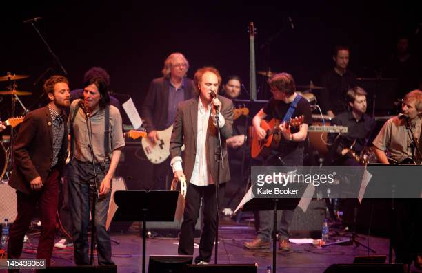 Ken Stringfellow Mike Mills Ray Davies and Norman Blake performs on stage during the Big Star Trbute Show at Barbican Centre on May 28 2012 in London...