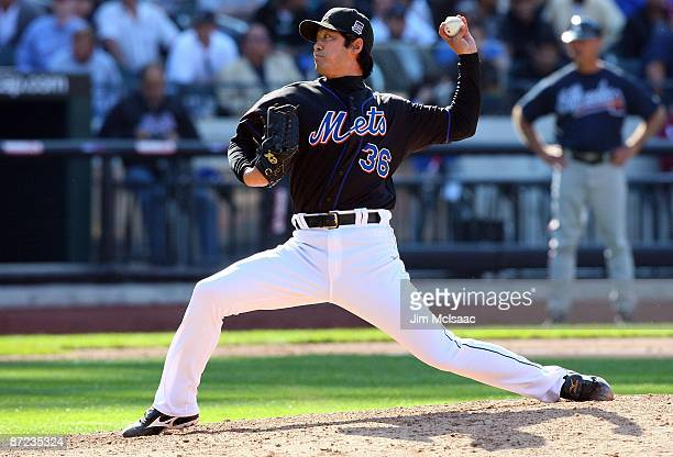 Ken Takahashi of the New York Mets pitches against the Atlanta Braves on May 13 2009 at Citi Field in the Flushing neighborhood of the Queens borough...