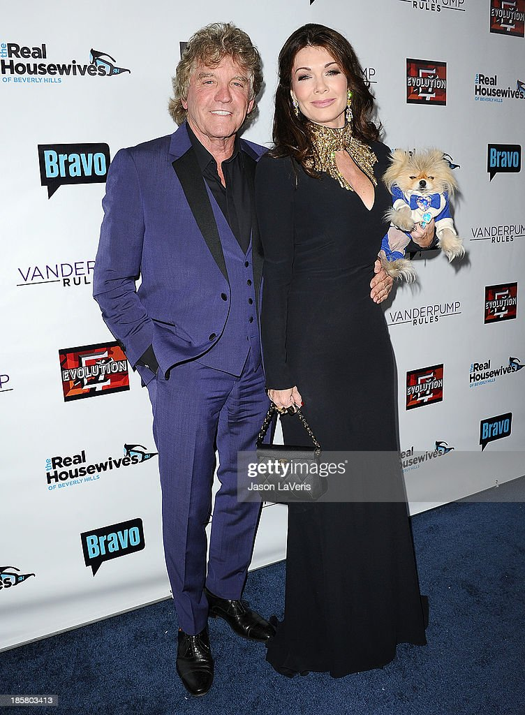 Ken Todd, Lisa Vanderpump and their dog Giggy The Pom attend the 'The Real Housewives of Beverly Hills' and 'Vanderpump Rules' premiere party at Boulevard3 on October 23, 2013 in Hollywood, California.