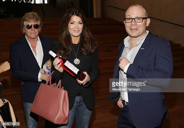 Ken Todd Lisa Vanderpump and Thom Collins pose during a private tour of the Perez Art Museum Miami where LVP sangria will make its debut on December...