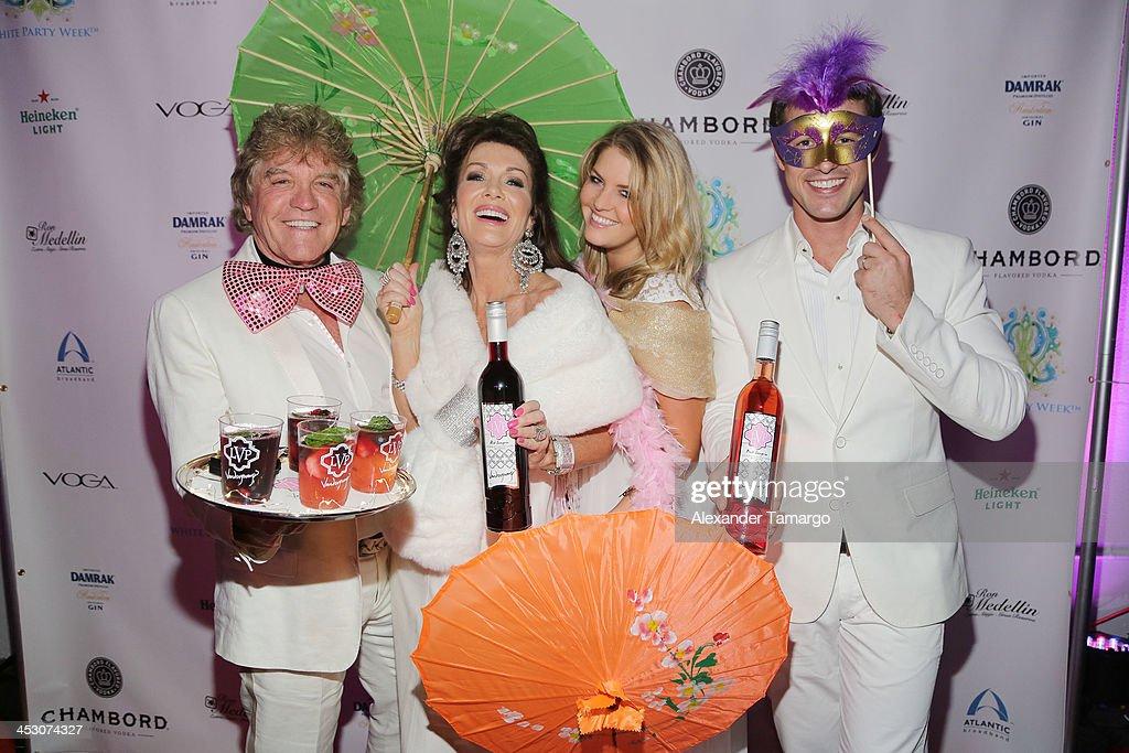 Ken Todd, Lisa Vanderpump, Pandora Vanderpump-Sabo and Jason Sabo debut LVP sangria at The White Party in Miami and help raise awareness for HIV/AIDS at Soho Studios on November 30, 2013 in Miami, Florida.