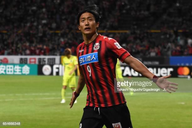 Ken Tokura of Consadole Sapporo celebrates scoring the opening goal during the JLeague J1 match between Consadole Sapporo and Sanfrecce Hiroshima at...
