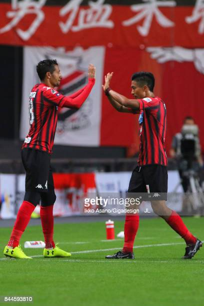 Ken Tokura of Consadole Sapporo is replaced by Jay Bothroyd during the JLeague J1 match between Consadole Sapporo and Jubilo Iwata at Sapporo Dome on...