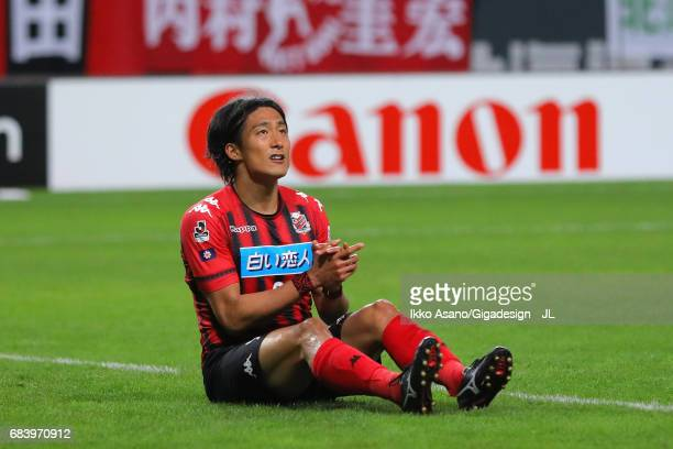Ken Tokura of Consadole Sapporo reacts during the JLeague J1 match between Consadole Sapporo and Gamba Osaka at Sapporo Dome on May 14 2017 in...