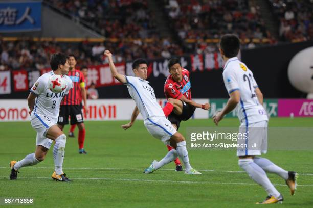Ken Tokura of Consadole Sapporo shoots at goal during the JLeague J1 match between Consadole Sapporo and Kashima Antlers at Sapporo Dome on October...