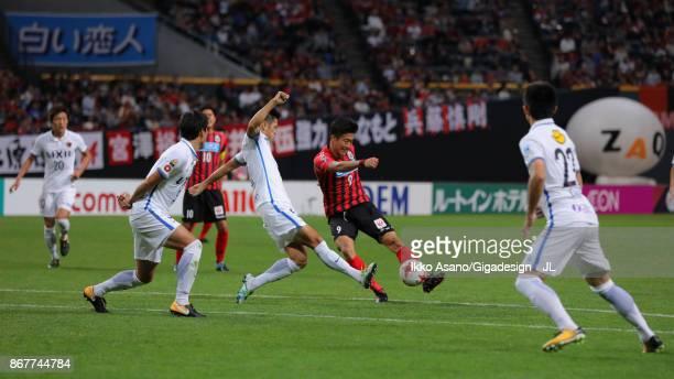 Ken Tokura of Consadole Sapporo shoots ato goal during the JLeague J1 match between Consadole Sapporo and Kashima Antlers at Sapporo Dome on October...