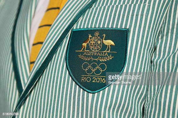 Ken Wallace poses in his Australian opening ceremony uniform during Sportscraft's opening ceremony and formal uniform launch on March 30 2016 in...