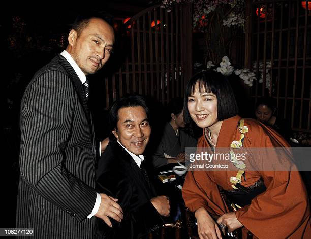 Ken Watanabe Koji Yakusho and Kaori Momoi during 'Memoirs of a Geisha' New York City Premiere After Party at Central Park Boathouse in New York City...