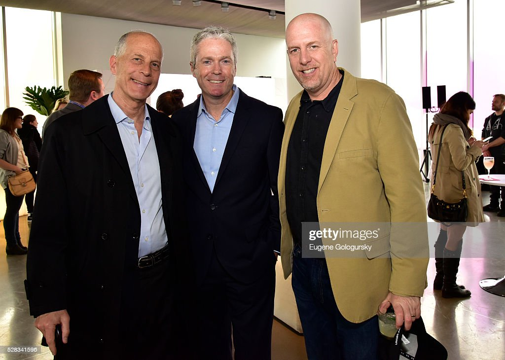 Ken Werner- President of Warner Bros television distribution, David McGuire- EVP Current Programming, Telepictures and Bob Mohler- SVP Digital Media, Telepictures attend the Ellen Digital New Front on May 4, 2016 in New York City.