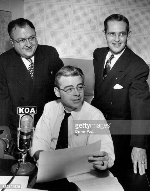 MAY 29 1952 MAY 30 1952 'WHO ME'—Ken White Denver Post radio editor seems a little surprised as Carlton T Sills Denver Rio Grande Western railroad...