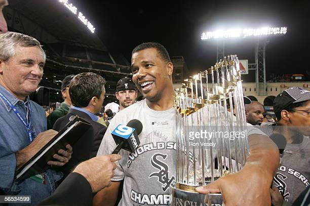Ken Williams of the Chicago White Sox celebrates winning Game 4 of the 2005 World Series against the Houston Astros at Minute Maid Park on October 26...