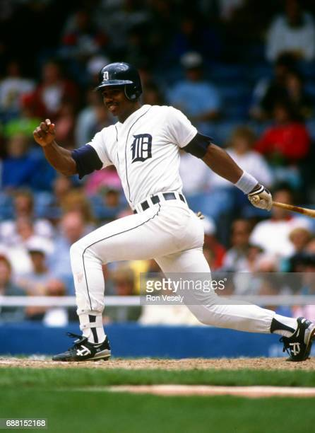Ken Williams of the Detroit Tigers bats during an MLB game at Tiger Stadium in Detroit Michigan Williams played for the Tigers from 19891990