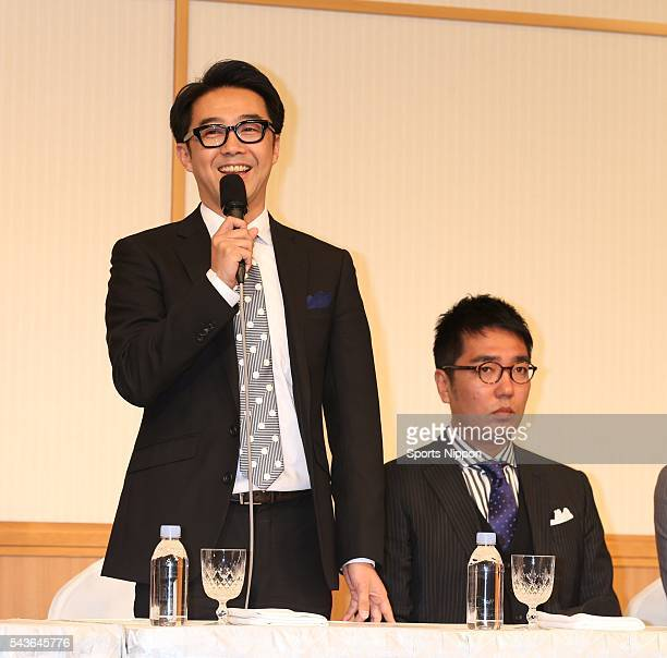 Ken Yahagi Hiroaki Ogi of comedy due Ogiyahagi attend the Fuji TV program press conference on March 20 2014 in Tokyo Japan