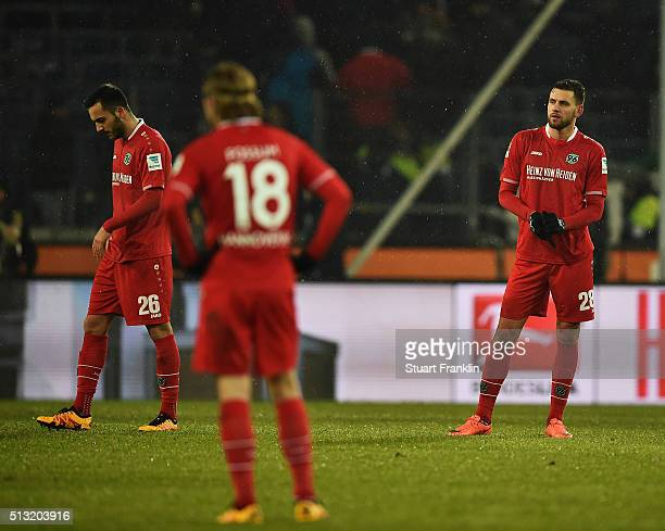 Kenan Karaman and Ádám Szalai of Hannover look dejected during the Bundesliga match between Hannover 96 and VfL Wolfsburg at HDIArena on March 1 2016...