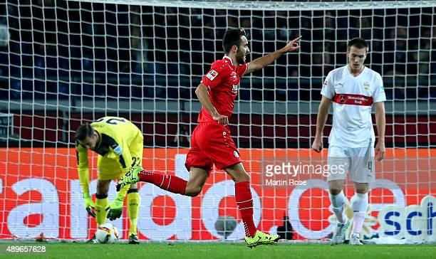 Kenan Karaman of Hannover celebrates after scoring the openn goalduring the Bundesliga match between Hannover 96 and VfB Stuttgart at HDIArena on...