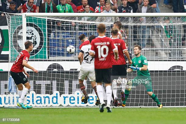 Kenan Karaman of Hannover scores their first goal during the Second Bundesliga match between Hannover 96 and FC St Pauli at HDIArena on October 1...