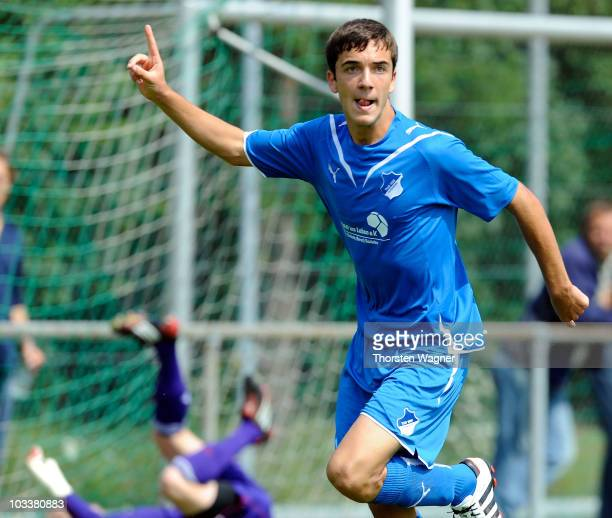 Kenan Karaman of Hoffenheim celebrates after scoring the 10 during the BJuniors Bundesliga match between TSG 1899 Hoffeneim and FC Bayern Muenchen at...
