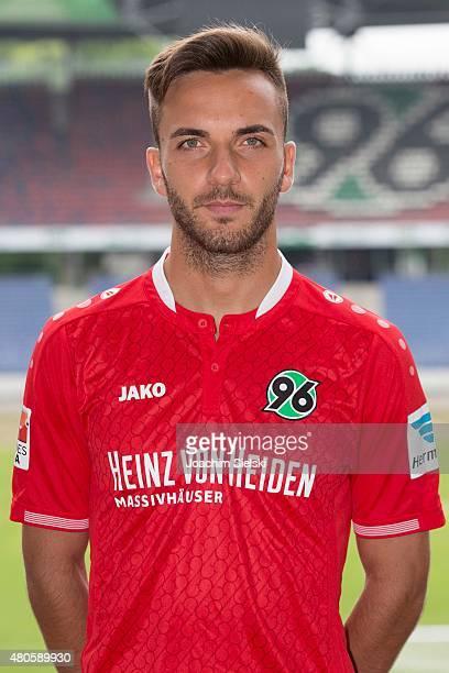 Kenan Karaman poses during the team presentation of Hannover 96 at HDIArena on July 13 2015 in Hanover Germany