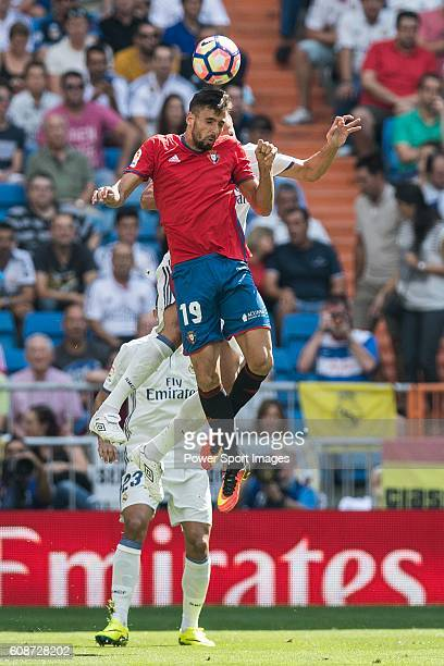 Kenan Kodro of Osauna in action during the La Liga match between Real Madrid and Osasuna at the Santiago Bernabeu Stadium on 10 September 2016 in...