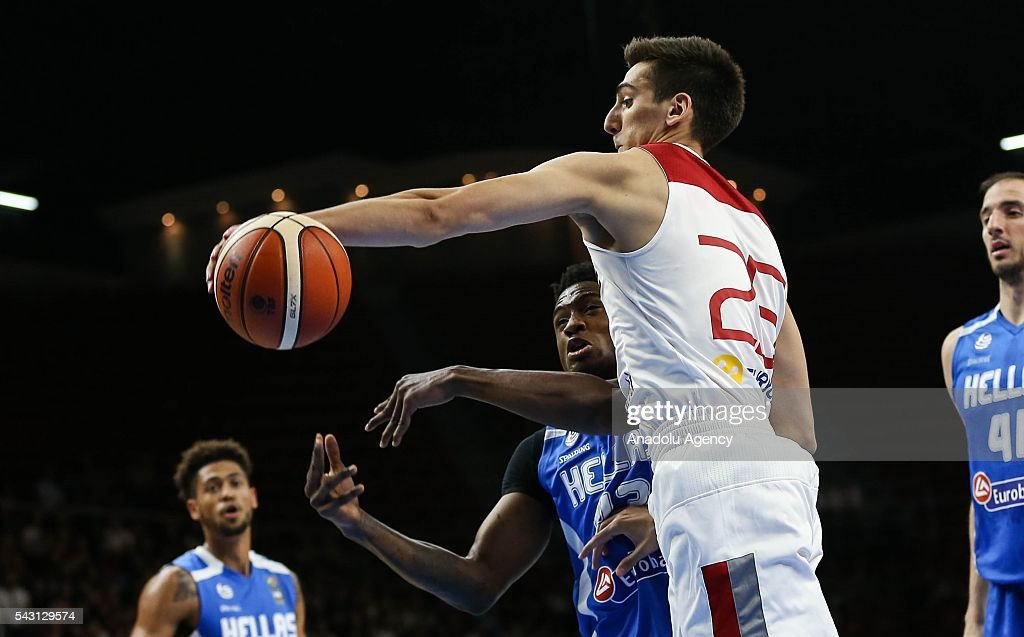 Kenan Sipahi (25) of Turkey in action against Thananis Antetokounmpo (43) of Greece during the friendly match at Abdi Ipekci Sports Hall in Istanbul, Turkey on June 26, 2016.