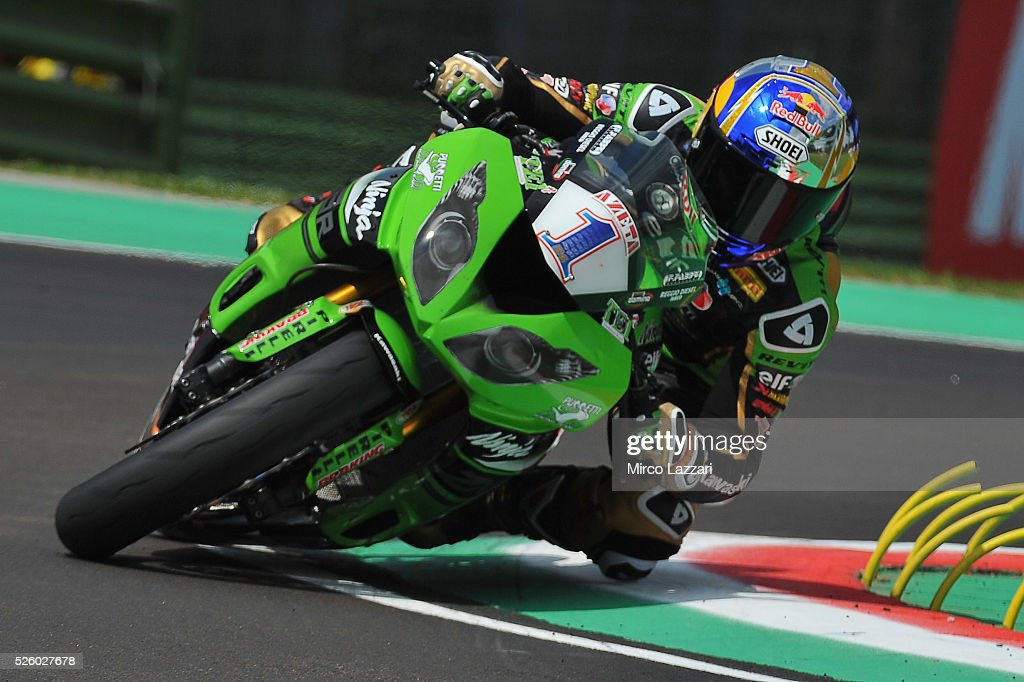 Kenan Sofuoglu of Turkey and Kawasaki Puccetti Racing rounds the bend during the World Superbikes - Practice at Enzo & Dino Ferrari Circuit on April 29, 2016 in Imola, Italy.