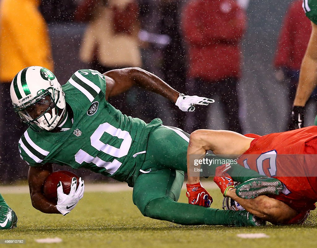 Kenbrell Thompkins #10 of the New York Jets is tackled by Chris Hogan #15 of the Buffalo Bills in the first quarter on November 12, 2015 at MetLife Stadium in East Rutherford, New Jersey.