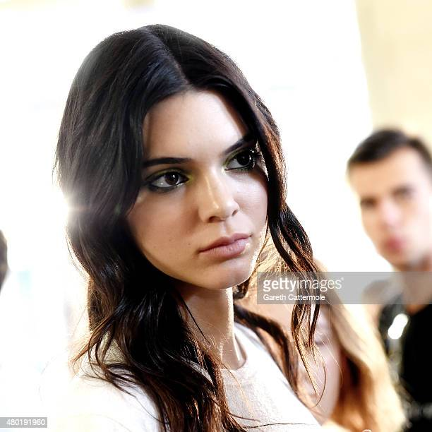 Kendal Jenner backstage before the Versace show as part of Paris Fashion Week HauteCouture Fall/Winter 2015/2016 on July 5 2015 in Paris France
