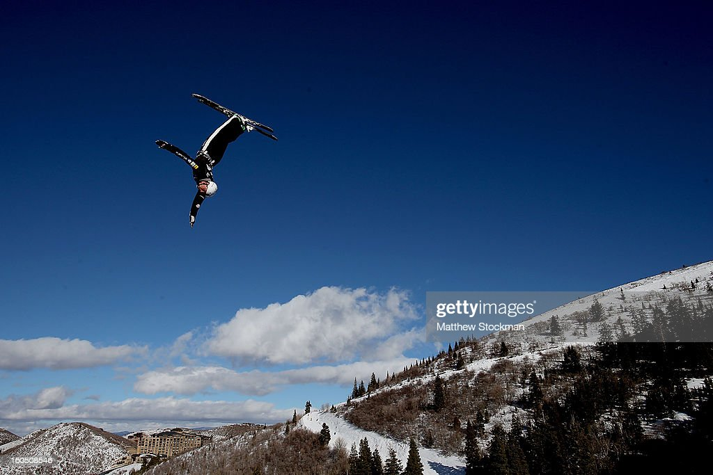 Kendal Johnson #36 jumps while training for the Mens Aerials during the Visa Freestyle International at Deer Valley on February 1, 2013 in Park City, Utah.