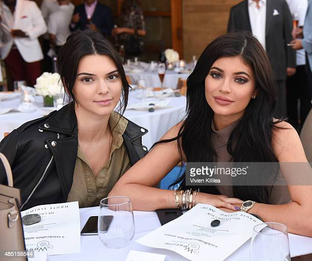 Kendall and Kylie Jenner attend Westime Celebrates Kris Jenner's Haute Living Cover at Nobu Malibu on August 24 2015 in Malibu California