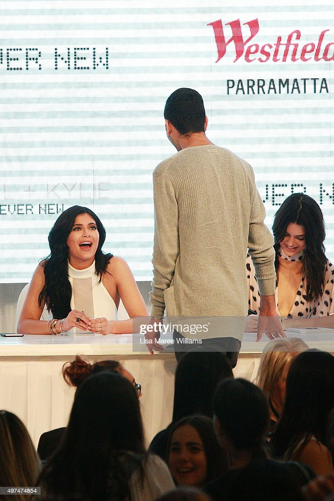 Kendall and Kylie Jenner greet fans at Westfield Parramatta on November 17, 2015 in Sydney, Australia.