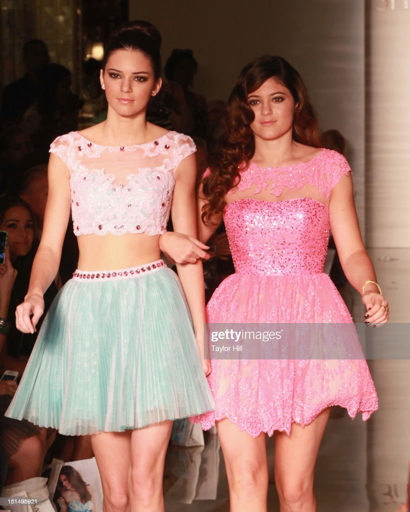 Kendall and <a gi-track='captionPersonalityLinkClicked' href=/galleries/search?phrase=Kylie+Jenner&family=editorial&specificpeople=870409 ng-click='$event.stopPropagation()'>Kylie Jenner</a> walk the runway at the Evening Sherri Hill spring 2013 fashion show during Mercedes-Benz Fashion Week at Trump Tower Grand Corridor on September 7, 2012 in New York City.