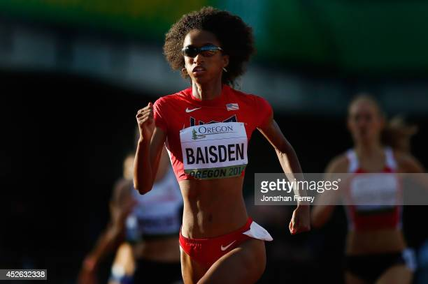 Kendall Baisden of USA runs in the women's 400m during day three of the IAAF World Junior Championships at Hayward Field on July 24 2014 in Eugene...