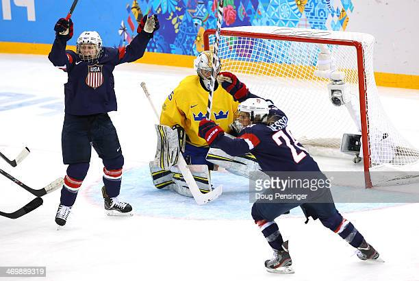Kendall Coyne and Amanda Kessel of the United States celebrate a goal against Valentina Lizana Wallner of Sweden in the first period during the...