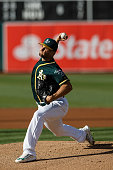 Kendall Graveman of the Oakland Athletics pitches against the Tampa Bay Rays during the first inning at the Oakland Coliseum on July 23 2016 in...