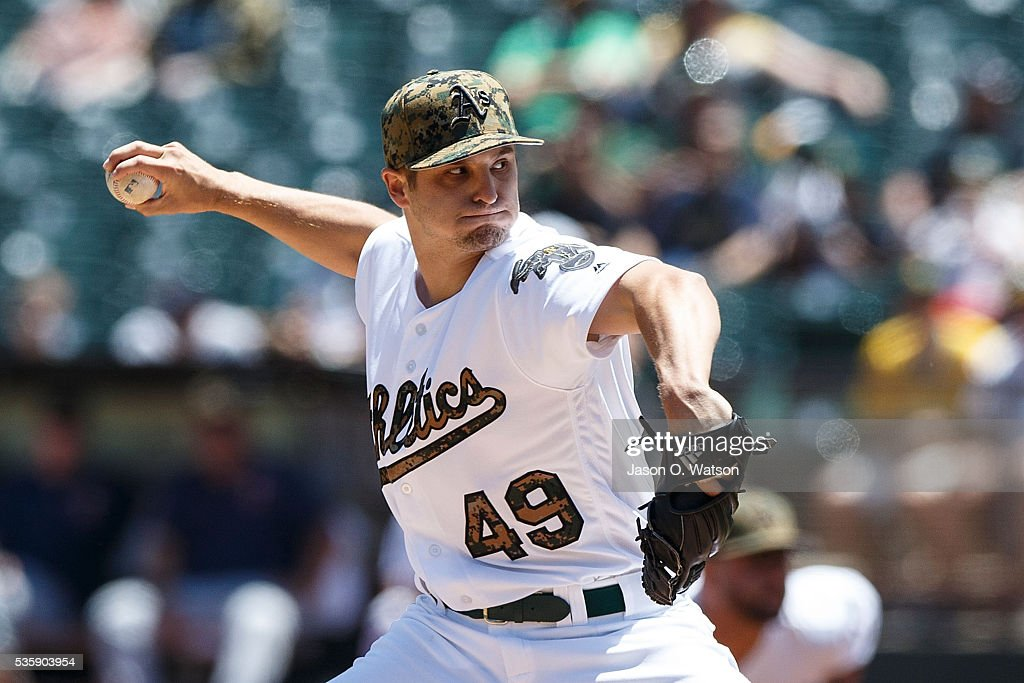 Kendall Graveman #49 of the Oakland Athletics pitches against the Minnesota Twins during the first inning at the Oakland Coliseum on May 30, 2016 in Oakland, California.