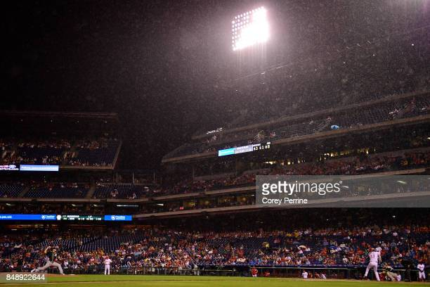 Kendall Graveman of the Oakland Athletics pitches to Rhys Hoskins of the Philadelphia Phillies during the third inning at Citizens Bank Park on...
