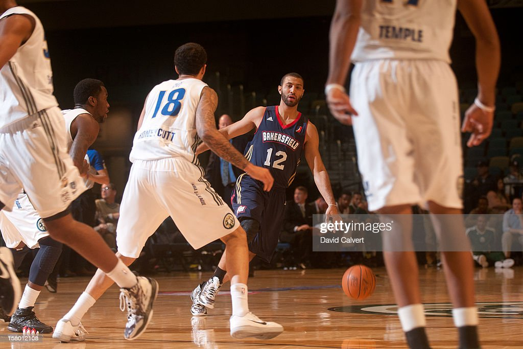 <a gi-track='captionPersonalityLinkClicked' href=/galleries/search?phrase=Kendall+Hunter&family=editorial&specificpeople=4542833 ng-click='$event.stopPropagation()'>Kendall Hunter</a> #12 of the Bakersfield Jam dribbles the ball up court against the Reno Bighorns on December 7, 2012 at the Reno Events Center in Reno, Nev..
