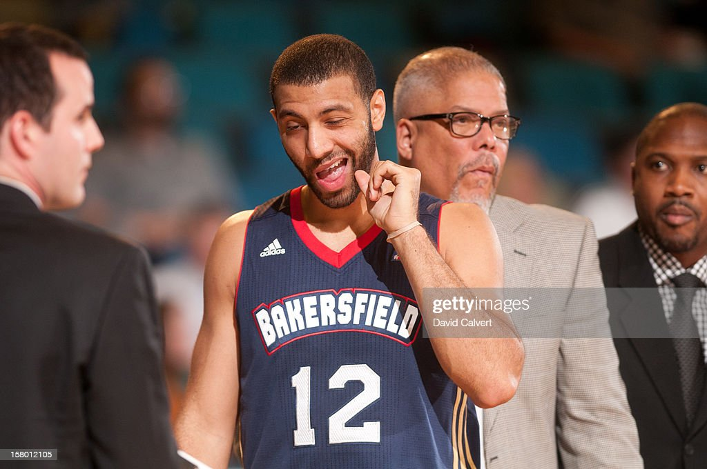 <a gi-track='captionPersonalityLinkClicked' href=/galleries/search?phrase=Kendall+Hunter&family=editorial&specificpeople=4542833 ng-click='$event.stopPropagation()'>Kendall Hunter</a> #12 of the Bakersfield Jam during a timeout against the Reno Bighorns on December 7, 2012 at the Reno Events Center in Reno, Nev..