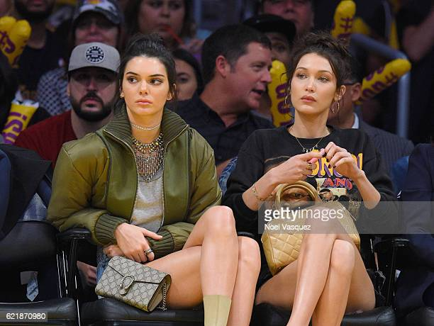 Kendall Jenner and Bella Hadid attend a basketball game between the Dallas Mavericks and the Los Angeles Lakers at Staples Center on November 8 2016...