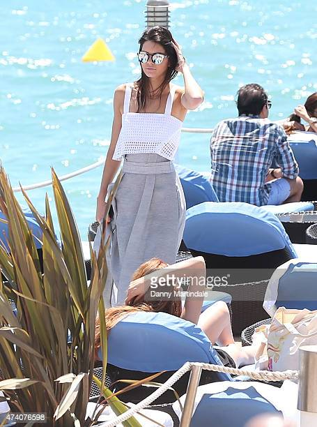 Kendall Jenner and Cara Delevingne are seen on the Martinez Hotel beach during the 68th annual Cannes Film Festival on May 20 2015 in Cannes France