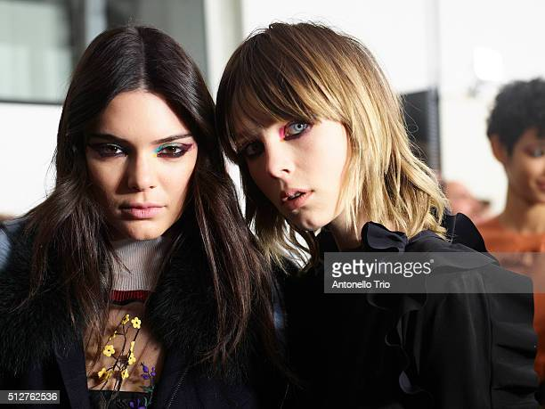 Kendall Jenner and Edie Campbell are seen backstage ahead of the Fendi show during Milan Fashion Week Fall/Winter 2016/17 on February 25 2016 in...