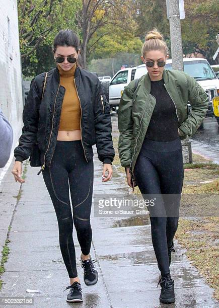 Kendall Jenner and Gigi Hadid are seen on December 22 2015 in Los Angeles California